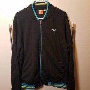 Puma track jacket - black w/ neon blue/yellow trim
